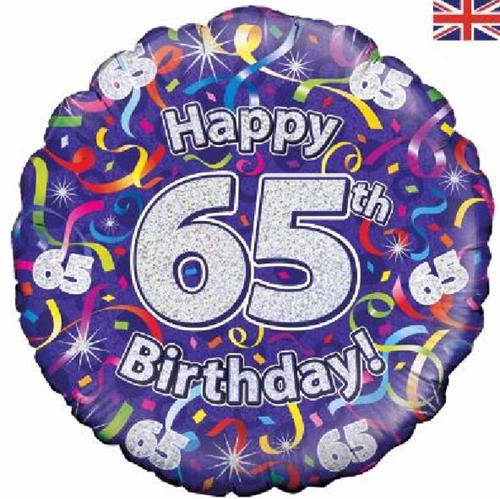 65th Birthday Holographic Streamers 18 Inch Foil Balloon