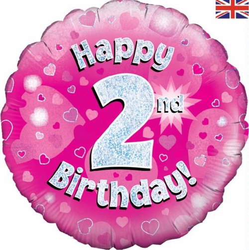 2nd Birthday Holographic Pink 18 Inch Foil Balloon