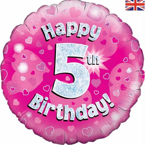 5th Birthday Holographic Pink 18 Inch Foil Balloon