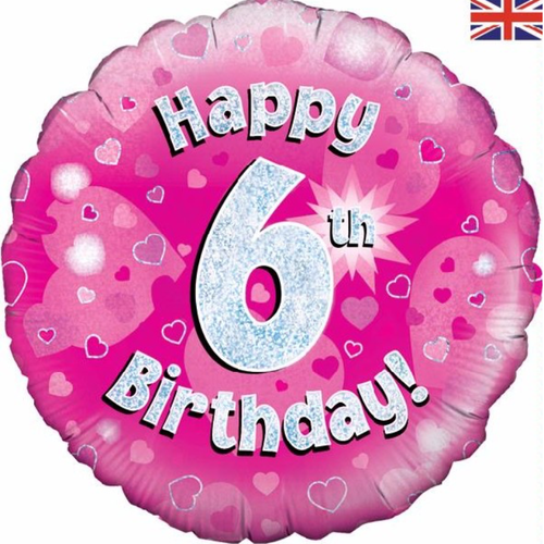 06th Birthday Holographic Pink 18 Inch Foil Balloon