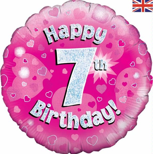 7th Birthday Holographic Pink 18 Inch Foil Balloon