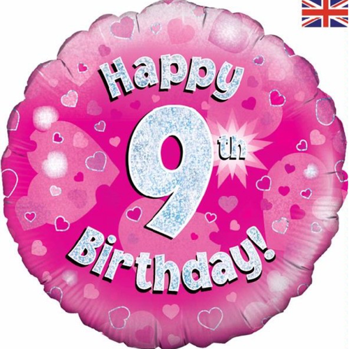 9th Birthday Holographic Pink 18 Inch Foil Balloon