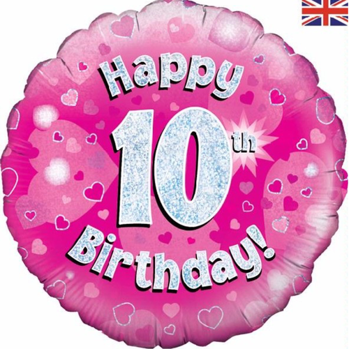 10th Birthday Holographic Pink 18 Inch Foil Balloon