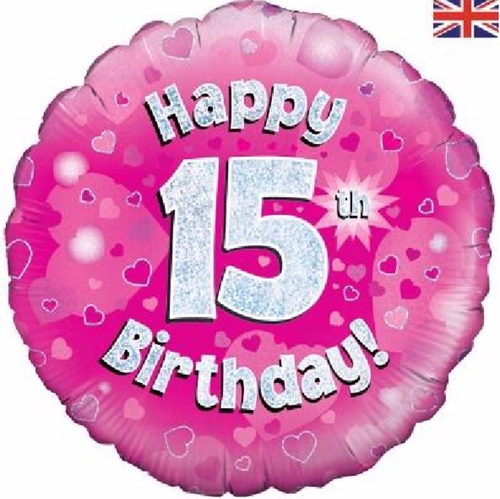 15th Birthday Holographic Pink 18 Inch Foil Balloon