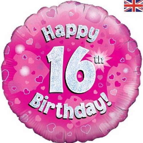 16th Birthday Holographic Pink 18 Inch Foil Balloon