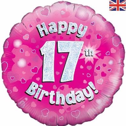 17th Birthday Holographic Pink 18 Inch Foil Balloon