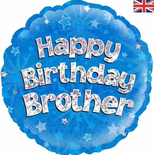 Happy Birthday Brother Holographic Blue 18 Inch Foil Balloon