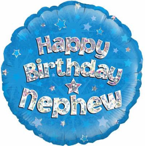 Happy Birthday Nephew Holographic Blue 18 Inch Foil Balloon
