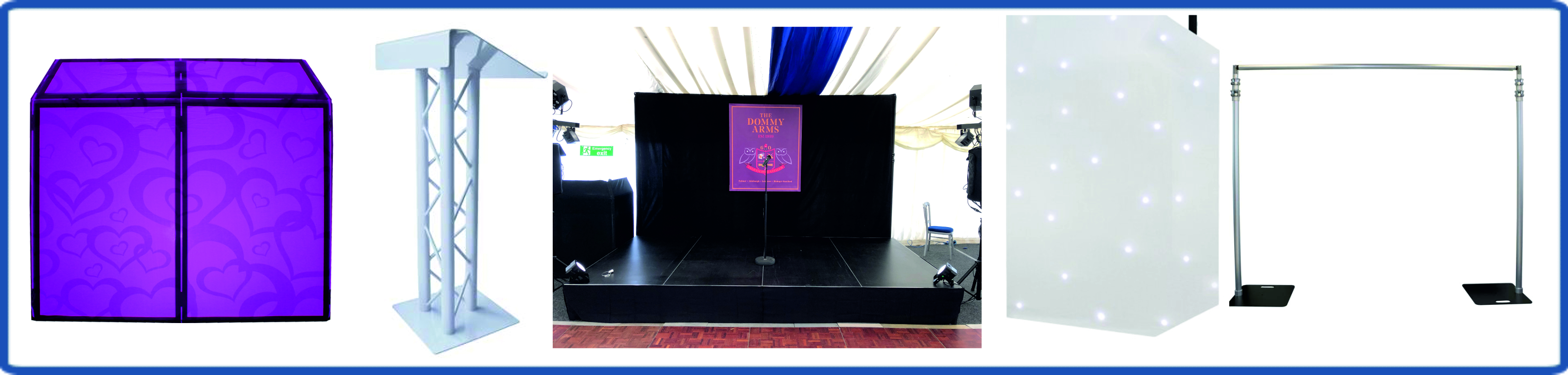 DJ Booths, Staging & Backdrops
