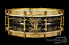 1929 Ludwig DeLuxe Black Beauty '10-Point Floral' Engraved Snare Drum : 5 x 14