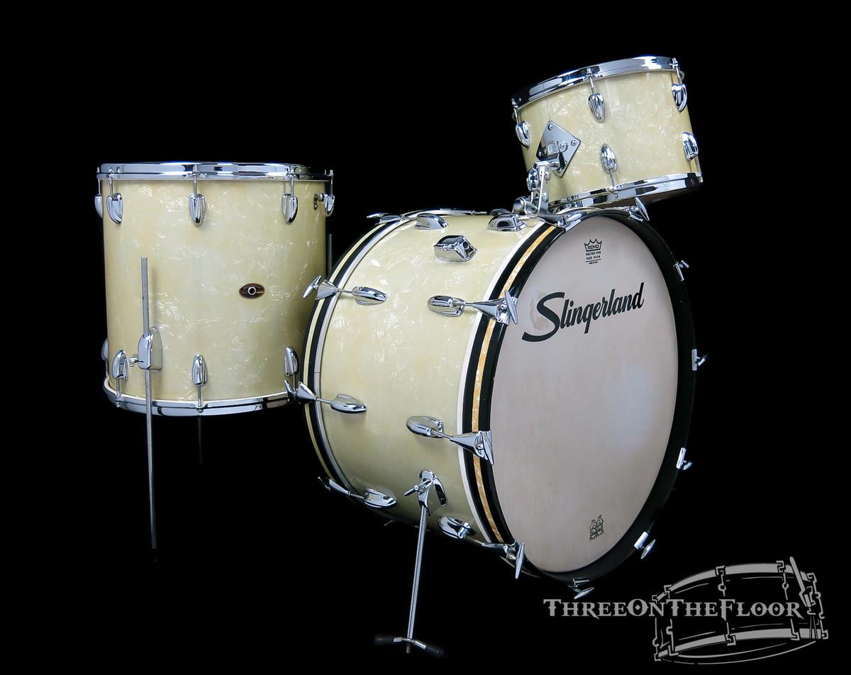 1960s Slingerland Gene Krupa Deluxe Outfit White Marine Pearl : 22 13 16 : SOLD