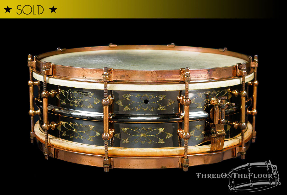 1920s Ludwig DeLuxe Black Beauty 'Floral 12-Point' Engraved Snare Drum :  5 x 14  *SOLD*