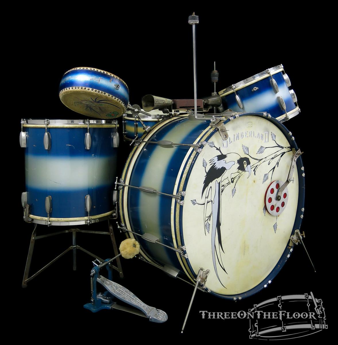 1930s Slingerland Vintage Radio King Blue Silver Duco Trap Drum Kit