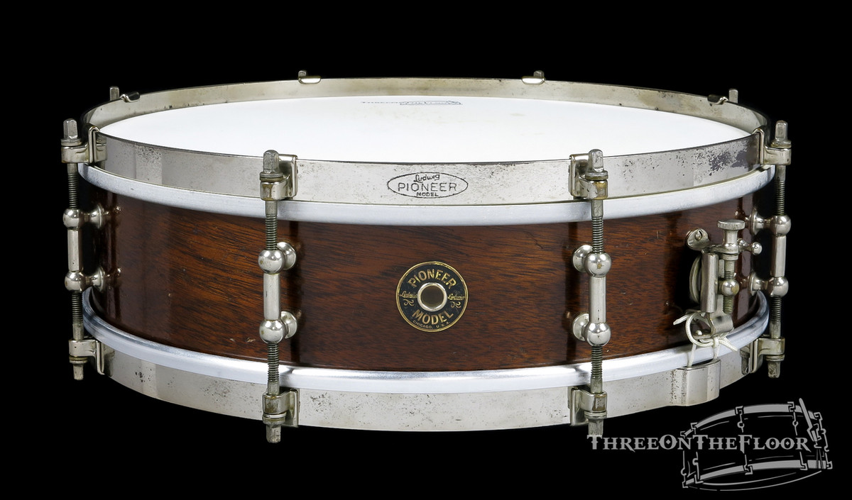 1930s Ludwig Pioneer Model Vintage Snare Drum Solid Shell : 4 x 14 - Three  On The Floor