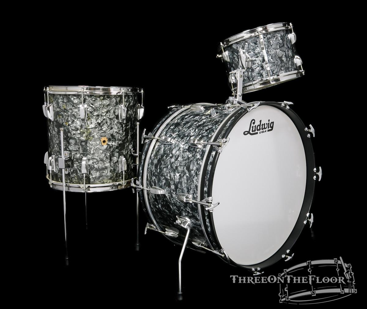 1960s Ludwig Pre-Serial New Yorker Drum Kit : Black Diamond Pearl : 22 12 14