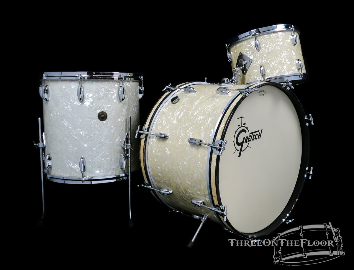1960s Gretsch Name Band Outfit Vintage Drum Kit Wmp 22 13 16 Sold Three On The Floor