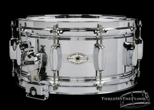 1961 Rogers Dynasonic Snare Drum Bread Butter Lugs Cleveland 6.5 x 14