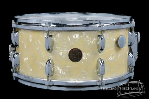 1950s Gretsch Floor Show Model Snare Drum White Marine Pearl 3 Ply : 6.5 x 14