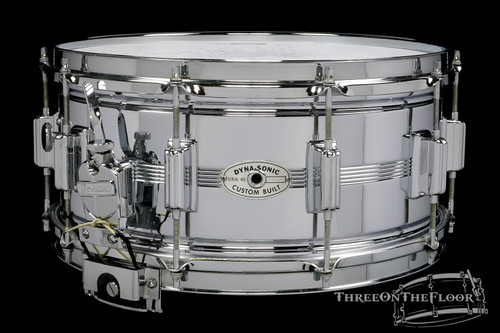 1970 Rogers Dynasonic Snare Drum Vintage Chrome / Brass : 6.5 x 14
