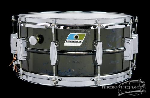 1970s Ludwig Black Beauty Snare Drum Blue Olive Badge Vintage 6.5x14 **SOLD**