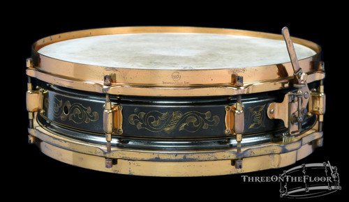 1920s Leedy Black Elite Model Engraved Vintage Snare Drum : 4 x 14