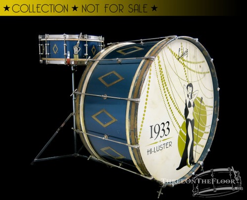 1933 Ludwig  Hi-Luster Blue Outfit Vintage Drum Kit : 14x28 - 5x14