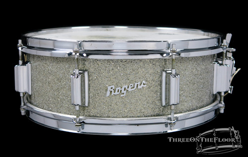 1967 Rogers Tower Vintage Snare Drum Silver Sparkle Pearl Cleveland : 5 x 14 **SOLD**