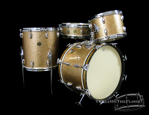 1960s Gretsch Champagne Gold Sparkle Bop Kit :  18 - 12 - 12 - 14 - 14 - 14 **SOLD**