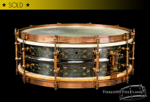 1920s Ludwig DeLuxe Black Beauty 'Floral 12-Point' Engraved Snare Drum :  5 x 14