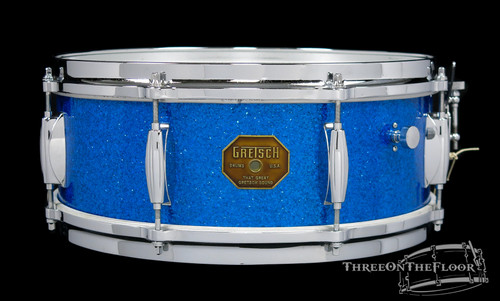 1970s Gretsch 'Renown' Model 4103 Snare Drum Blue Sparkle Stop Sign 5.5 x 14