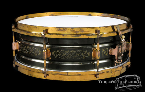 "1920s Leedy Black Elite Model Snare ""Carroll"" :  5 x 14 **SOLD**"