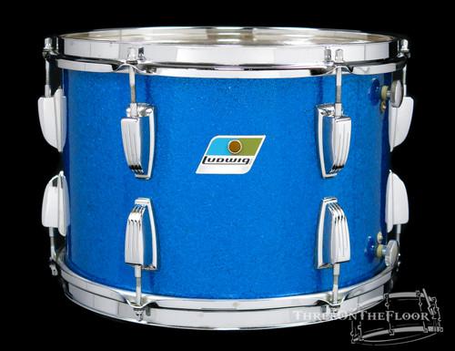 """1960s 70s Ludwig 9""""x13"""" Blue Sparkle Rack Tom Vintage Drum Blue Olive Badge"""