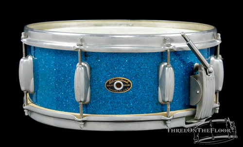 1950s Slingerland Super Gene Krupa Model Radio King Snare Drum Blue Sparkle : 5.5 x 14