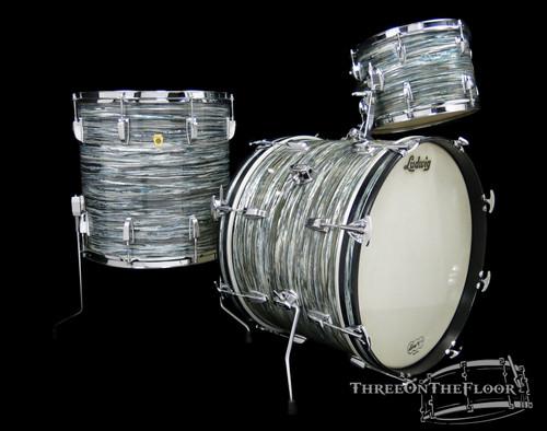 1960s Ludwig Keystone Badge Vintage Drum Kit : Oyster Blue Pearl : 20 12 16