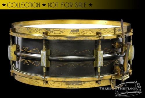 1930-31 Leedy Broadway Parallel Thunderbird Full Dress Snare Drum :  5 x 14