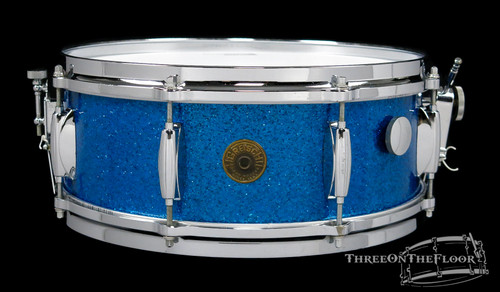 1960s Gretsch 'Name Band' Model 4157 Snare Drum Blue Sparkle Round Badge 5.5 x 14