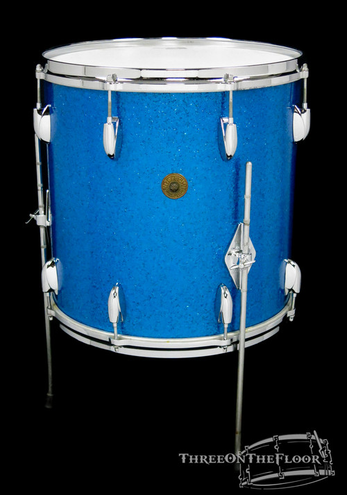 "1960s Gretsch 16""x16"" Round Badge Floor Tom Drum : Name Band : Blue Sparkle"