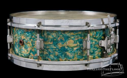 1930s Leedy 'Professional' Model Vintage Snare Drum : Rainbow Pearl : 5 x 14