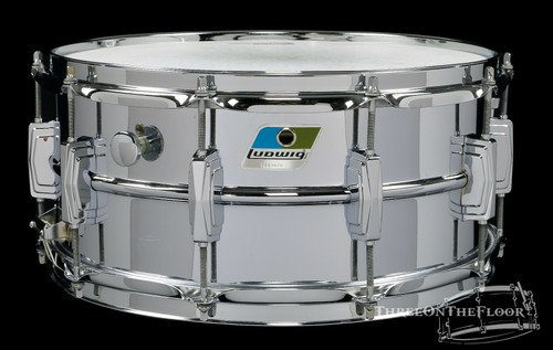 1980s Ludwig Supraphonic Vintage Snare Drum Blue Olive Badge Aluminum : 6.5 x 14