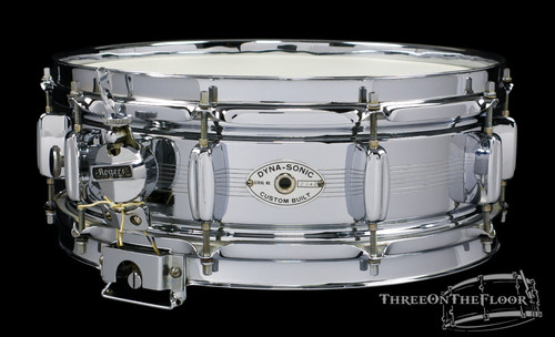 1961 Rogers Dynasonic Snare Drum Bread Butter Lugs Vintage Cleveland 5 x 14