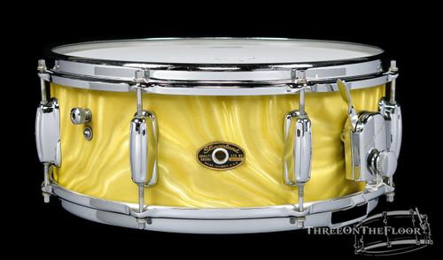 1960s Slingerland Artist Model Snare Drum Gold Satin Flame : 5x14 **SOLD**