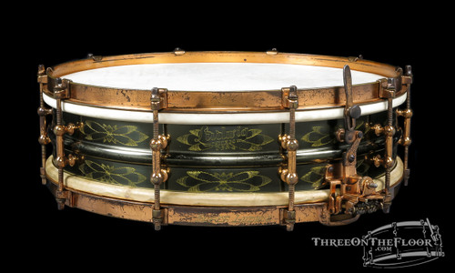 1930s Super Ludwig DeLuxe Black Beauty 'Floral 12-Point' Engraved :  4 x 15