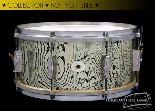 1936 Ludwig & Ludwig Silver Anniversary Abalone Pearl Snare Drum  :  7 x 14