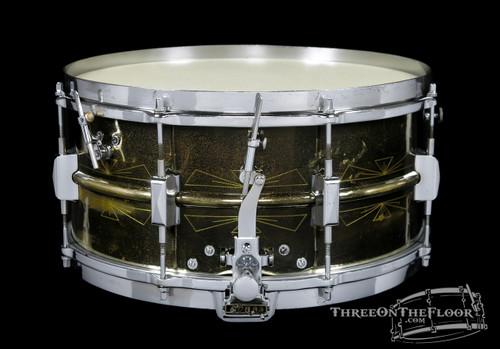 1930s Leedy Black Elite 'Thunderbird' Broadway Dual Model Snare  :  6.5 x 14