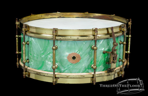 1930s Slingerland Tone Flange Sea Green Pearl Snare  :  5 x 14