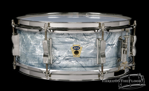 1960 Ludwig Trans Badge Jazz Festival Sky Blue Pearl Snare : 5 x 14 **SOLD**