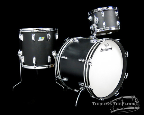 1970s Ludwig Black Panther Downbeat Drum Kit - 20 12 14 **SOLD**