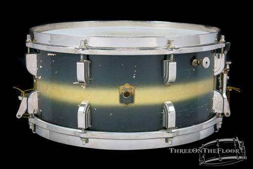 1946 Leedy Broadway Standard Model Snare Drum Black Gold Duco:  6.5 x 14