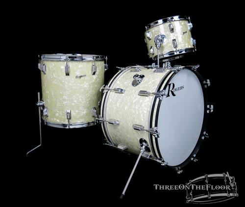 1969 Rogers Powertone Model Drum Kit White Marine Pearl - 22 13 16
