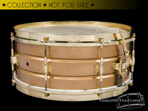 1930s Leedy Professional Model Colonial Gold Finish Snare Drum :  6 x 14